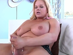Now you could witness how naughty blonde shemale Holly Sweet is exposing delights, masturbating big dick using both of her hands and then inserting dildo inside of ass.