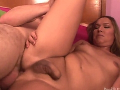 Handsome pal is having nice banging with shemale chearleader Khloe Hart in this scene. The bitch with dick spreads legs and gets her asshole drilled by guys cock.