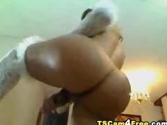 Hot Tranny Jerks Her Cock