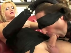 Another great dominating scene from Bianca. Abusing her slave in all ways and holes, with whips, hells and cock. And with a special gift for pissing lovers
