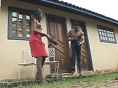 Insatiable shemale and muscle stud surrender to outdoor butt-banging frenzy