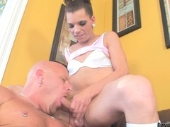 Dark haired transsexual girl Lexi Wade has her hard dick ready to fuck mouth and ass of bald beefy guy. He takes her sausage with desire. He gets his ass fucked deep with his boots on