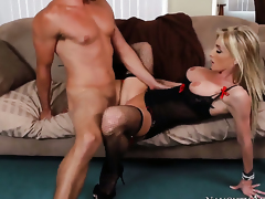 Ryan Driller inserts his ram rod in sinfully sexy Nadia Hiltons wet spot