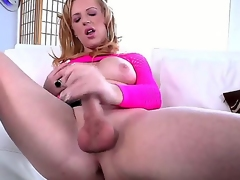 Its time to have some real hot fun with stacked beauty Juliette Stray someone who looks perfectly feminine yet comes rocking a huge cock! See her tugging on it here!