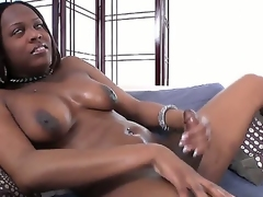 Gorgeous ebony shemale bitch Brownie is here to show you every inch of her dazzling body from her large and heavy tits to her nice cock with slight upward curve!