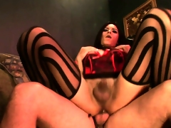 Shemale prostitute gets her lady bone sucked and then her ass banged