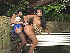 Amazing outdoor doggystyle fucking with sizzling hawt shemale and cute playgirl