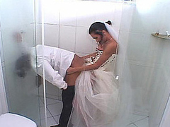 Lewd shemale bride stuffing her rod up groom