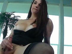 So hot and so passionate shemale Acadia Veneer would do her best for you! The bitch with cock on place of pussy would jerk off and stuff backdoor hole by dildo.