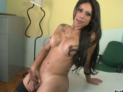 Busty dark haired shemale Bruna B is a true beauty. She strips out of her black lingerie and the strokes the sperm out of her stiff transsexual dick. Watch her jerk off