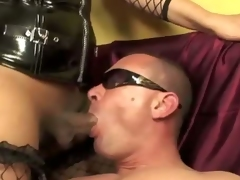 A brutal domination threesome where a couple of sadic transex in extreme mistress outfit, abuse a poor guy.