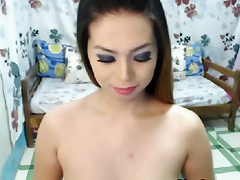 Cute Busty Shemale Closeup Masturbation
