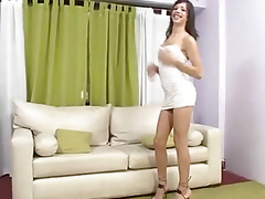 Tasty shemale honey sucks cock and gets jerked off