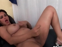 Shemale with curves strokes her small dick