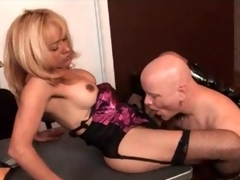 Office blowjob and anal with shemale milf