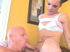 Naughty, slender tranny Lexi Wade loves having her hard cock sucked before fucking her lover