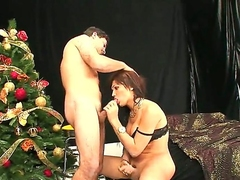 Dark haired shemale Luana asked her boyfriend to fuck his ass on the Christmas
