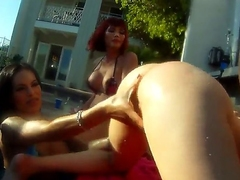 Famous cock loving muscled Christian XXX has memorable ass drilling outdoor orgy with shemale bombshells Adrianna Nicole, Foxxy, Kimber James and Mandy Mitchell in backyard filmed in close up.