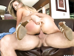 Kagney Linn Karter with big bottom gets her mouth stretched by meaty erect worm of hot guy