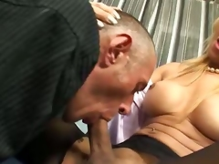 Two big cocked blonde shemales fuck a poor guy even if seems he does it with pleasure...