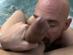 Sweet and beautiful tranny slut licked all over by a horny bald dude