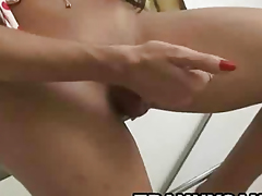 Sexy latina shemale hottie tugging on her hard cock
