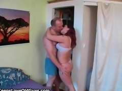 Busty redhead is fucked by horny old man segment